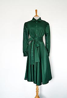 Šaty - Košeľové šaty s viazaním v páse z bavlneného saténu – zelené - 13762094_