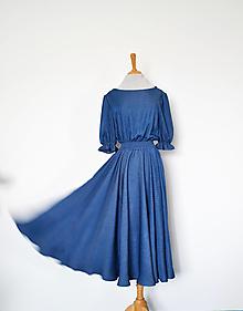 Šaty - Tencelovo-viskózové šaty s dezénom drobných bodiek s elastickým pásom - 13762168_