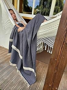 Úžitkový textil - Ľanová prikrývka Relaxing Moments - 13761935_