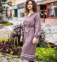 Šaty - Ľanové šaty Dobrava hnedá - 13763747_