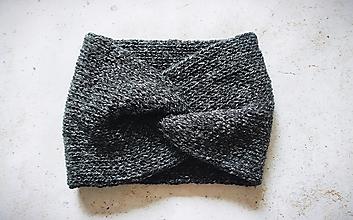 Čiapky, čelenky, klobúky - Turbanová  čierno-biela dvojvrstvová čelenka, vlnená, - 13763294_