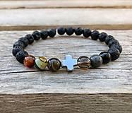 Šperky - Náramok - láva, achát, záhneda, ónyx - 13762563_