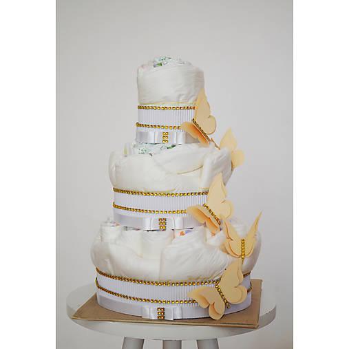 Plienková torta s motýľmi - biela