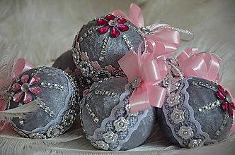 Dekorácie - Gule vianočné - sada6 ks - 13764911_