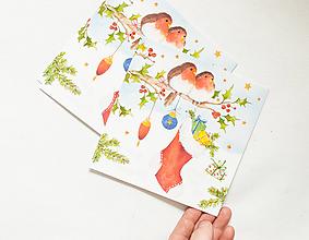 """Papier - Pohľadnica """"Červienky s darčekmi"""" - 13765672_"""