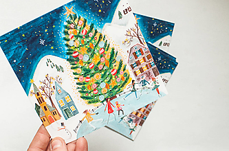 """Papier - Pohľadnica """"Pod stromčekom na ľade"""" - 13765695_"""