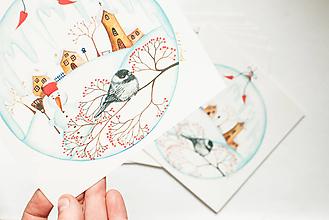 """Papier - Pohľadnica """"Vianočná guľa """" - 13765801_"""