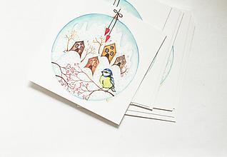"""Papier - Pohľadnica """"Vianočná guľa, sýkorka """" - 13765805_"""