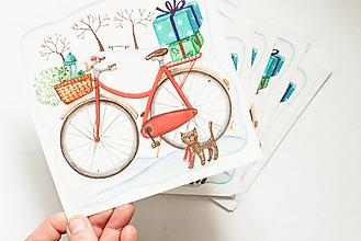 "Papier - Pohľadnica ""Bicykel s darčekmi"" - 13765809_"