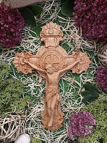 Dekorácie - Kríž Ježiš s benediktínskym krížom - 13764149_