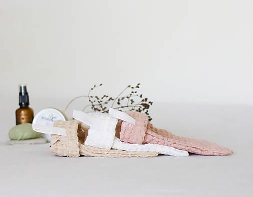 Úžitkový textil - Ľanová žinka na telo a tvár 3ks - 13764160_