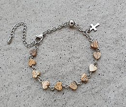 Náramky - Ruženček na ruku jaspis obrázkový srdiečka - NEREZOVÁ OCEĽ - 13765431_