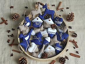 Dekorácie - Vianočná sada ozdôb,modré s prírodnou - 13769692_