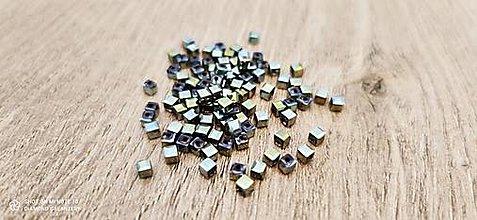 Korálky - Korálka kocka 3 mm - Zelená AB - 13767893_