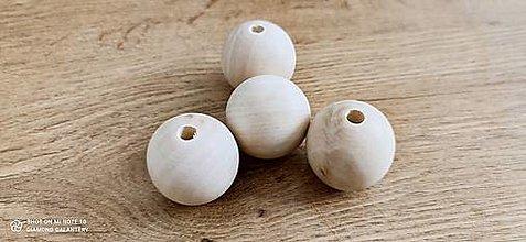 Korálky - Korálka drevená - 40 mm - Natur - 13768089_