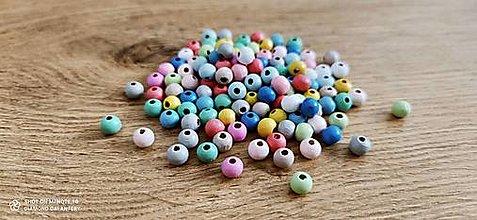 Korálky - Drevené korálky 8 mm - Náhodný Farebný mix 20 kusov - 13768338_