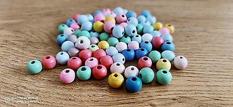 Korálky - Drevené korálky 10 mm - Náhodný Farebný mix 20 kusov - 13768340_