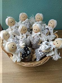 Dekorácie - Mini anjeliky šedo- čierna kolekcia - 13767432_