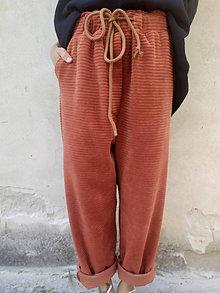 Nohavice - *Hrdzavé teplákové nohavice* - 13766636_