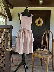 Iné oblečenie - Vidiecka ľanová zástera Sweet Dots - 13768178_