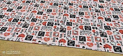 Textil - Úplet - Hello Kitty - cena za 10 centimetrov - 13772291_