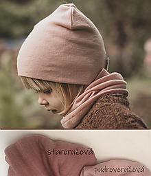 Detské čiapky - 100% merino set - staroružová - 13770650_