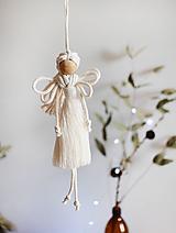 """Dekorácie - vianočný makramé """"Anjel""""  (natural biela) - 13774703_"""