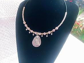 Sady šperkov - Sada šperkov luxusná/Ruženín-náhrdelník, náušnice - 13776398_