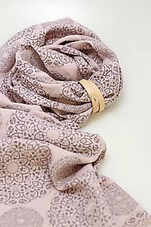 """Šatky - Exkluzívna dámska ľanová šatka 45x195cm s kvetinovou potlačou """"Grace rosa"""" - 13775745_"""
