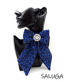 Brošne - Dámsky motýlik - luxusný - kráľovsky modrý - vzorovaný - 13774413_