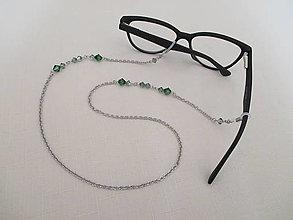 Iné šperky - Swarovski - retiazka na okuliare - zelená - chir. oceľ - 13777059_