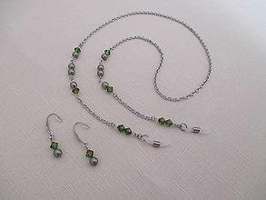 Sady šperkov - Swarovski - retiazka na okuliare s náušnicami - zelená - oceľ - 13777081_