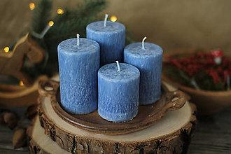 Svietidlá a sviečky - Mrazivé adventné sviečky- modré - 13776106_