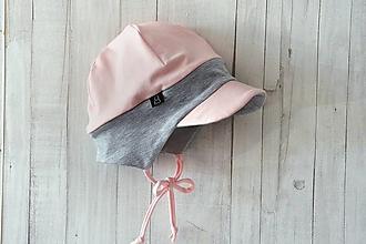 Detské čiapky - Pružná šiltovka sivá-pink - 13777007_