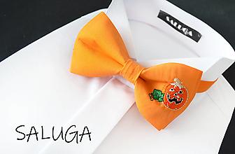 Doplnky - HELLOWEEN pánsky motýlik alebo detský motýlik - vyšívaný - jesenný - hellovínsky - oranžový - 13778279_