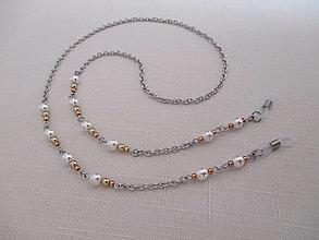 Iné šperky - Retiazka na okuliare - zlato/biela - chirurgická oceľ - 13778609_