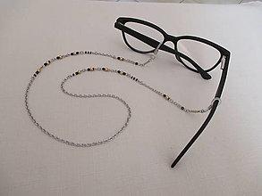 Iné doplnky - Retiazka na okuliare - zlato/čierna - chirurgická oceľ - 13778676_