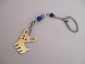 Kľúčenky - Kľúčenka - psík - zlato/modrá - chirurgická oceľ - 13778722_