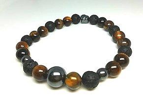 Šperky - Pánsky náramok tigrie oko, láva, hematit - 13778407_