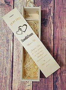 Krabičky - Drevená krabica na víno - Poďakovanie - srdiečka - 13778043_