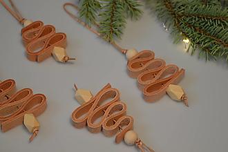 Dekorácie - Leather tree ornament - stromček (Leather tree ornament - stromček ( 3 ks)) - 13779647_