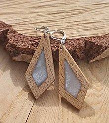 Náušnice - Drevené náušnice so živicou  vyrobené z bukového dreva a háčiky sú zo striebra. .Rôzne farebné prevedenia aj na želanie. - 13782477_
