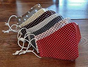 Rúška - rúško červené a biele s bodkami - 13782300_