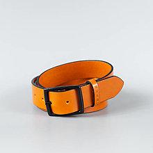 "Opasky - Oranžový kožený opasok do riflí ""Sunstone"" - 13780877_"
