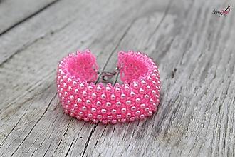 Náramky - náramok capricho z perličiek (ružový) - 13781300_