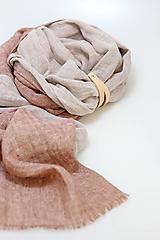 """Šály - Hrejivý obojstranný ľanový šál s remienkom """"Mona"""" - 13780556_"""