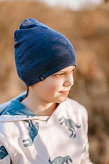 Detské čiapky - 100% merino čiapka denim modrá - 13782633_