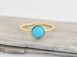 Prstene - 585/1000 zlatý prsteň s prírodným tyrkysom Nebo - 13784814_