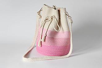 Kabelky - Provazová kabelka růžová - 13786635_