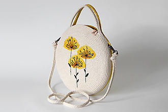 Kabelky - Provazová kabelka malovaná žlutá - 13786663_